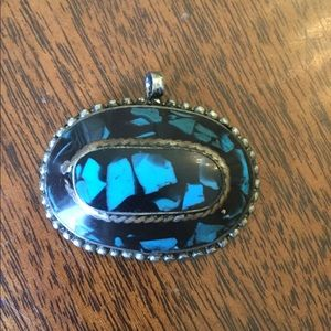 VINTAGE Sterling Silver w/Inlaid Turquoise Pendant